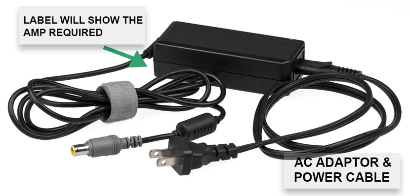 AC adaptor and power cable for a laptop