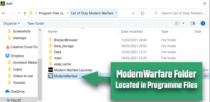 Call of Duty Warzone folder located in programme files