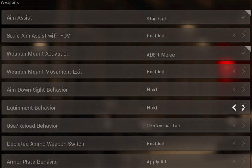 Best Controller settings for Weapons