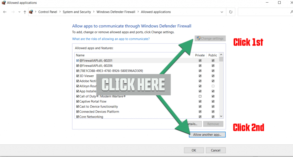 Windows Defender Firewall change settings and add programme