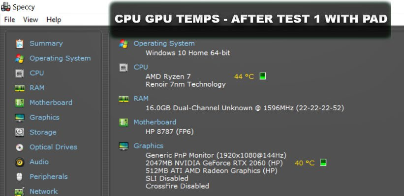 CPU GPU Temps After Test 1 to see if the cooling pads worked on a laptop