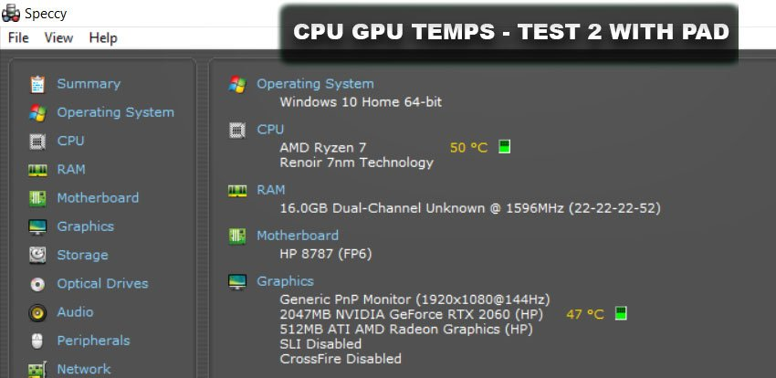 CPU GPU Temps Test with cooling pad