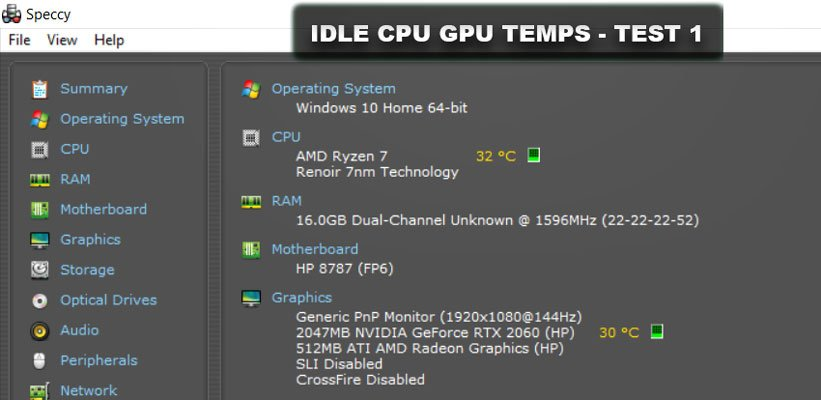 Idle CPU GPU Temps Test 1 to see if coolings pads work with laptops